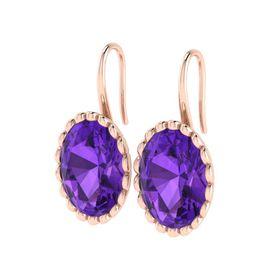 Why Jewellery Amethyst Hook Earrings - Rose Gold