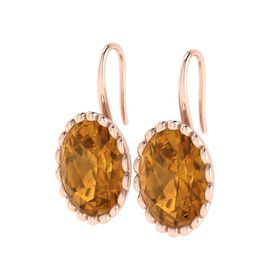 Why Jewellery Citrine Hook Earrings - Rose Gold