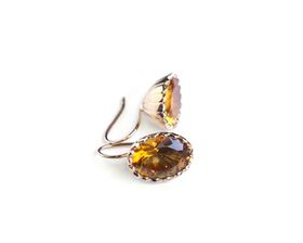 Why Jewellery Citrine Hook Earrings - Yellow Gold