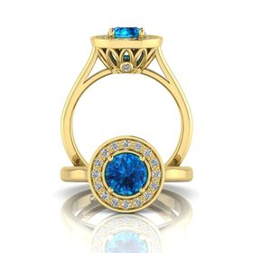 Why Jewellery Diamond and Topaz Ring - Yellow Gold (Size: N)