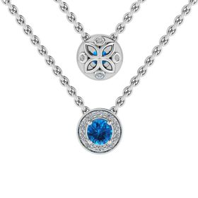 Why Jewellery Diamond and Topaz Pendant And Chain - Silver