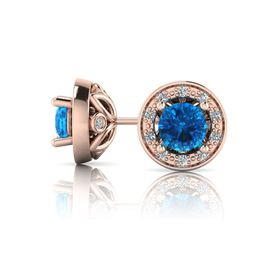 Why Jewellery Diamond and Topaz Studs - Rose Gold
