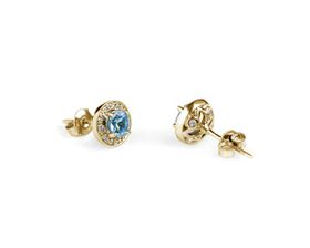 Why Jewellery Diamond and Topaz Studs - Yellow Gold
