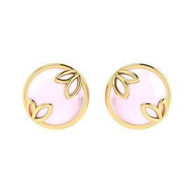 Why Jewellery Rose Quartz Studs - Yellow Gold