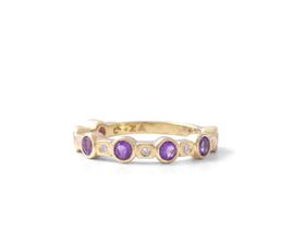 Why Jewellery Diamond And Amethyst Eternity Ring - Silver