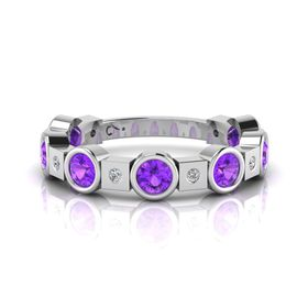 Why Jewellery Diamond And Amethyst Eternity Ring - Silver (Size: N)
