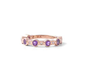 Why Jewellery Diamond And Amethyst Eternity Ring - Rose Gold Plated