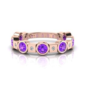 Why Jewellery Diamond And Amethyst Eternity Ring - Rose Gold (Size: N)
