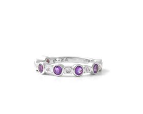 Why Jewellery Diamond And Amethyst Eternity Ring - Yellow Gold Plated
