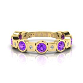 Why Jewellery Diamond And Amethyst Eternity Ring - Yellow Gold (Size: N)