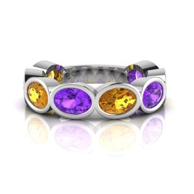 Why Jewellery Amethyst And Citrine Eternity Ring - Silver (Size: N)