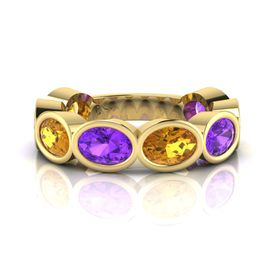 Why Jewellery Amethyst And Citrine Eternity Ring - Yellow Gold (Size: N)