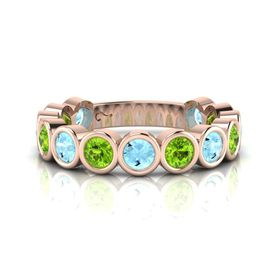 Why Jewellery Peridot And Topaz Eternity Ring - Rose Gold (Size: N)