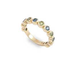 Why Jewellery Peridot And Topaz Eternity Ring - Yellow Gold Plated