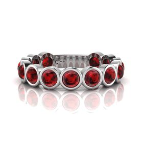 Why Jewellery Rhodolite Eternity Ring - Silver  (Size: N)