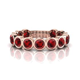 Why Jewellery Rhodolite Eternity Ring - Rose Gold (Size: N)