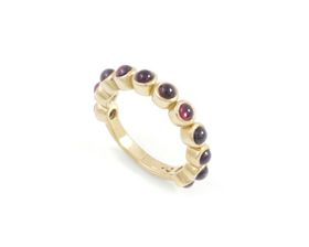 Why Jewellery Rhodolite Eternity Ring - Yellow Gold Plated