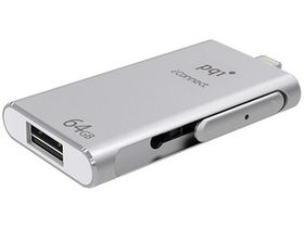 PQI 64GB iConnect Flash Drive - Silver