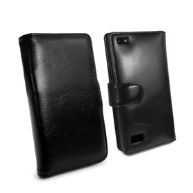 Tuff-Luv Vintage Genuine Leather Wallet Case Cover (incl Screen Protector) for Blackberry Leap - Black