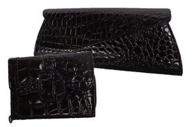Fino Croc Clutch Bag & Purse RF04/Cro/B2015 - Black