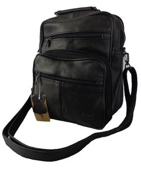 Fino Unisex Soft Sheep Leather Side Bag CL6718  - Black