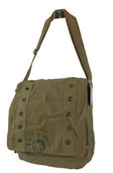 Fino Canvas Unisex Messenger Bag SK728 - Khaki