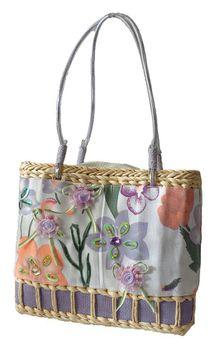 Fino Floral Embellished Beach Baskets CJ-05052 - Purple