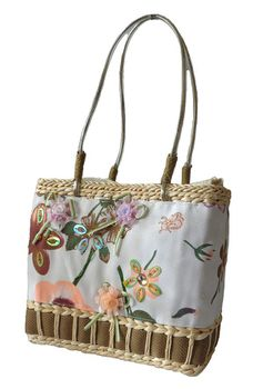 Fino Floral Embellished Beach Baskets CJ-05052 - Brown
