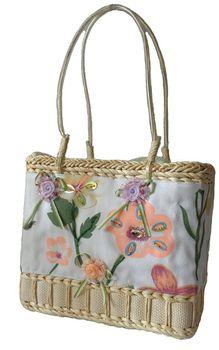 Fino Floral Embellished Beach Baskets CJ-05052 - Beige