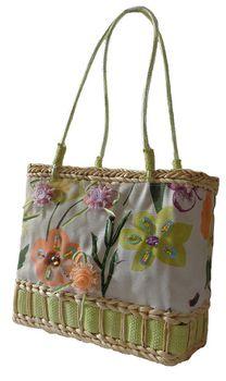 Fino Floral Embellished Beach Baskets CJ-05052 - Green