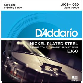 D'Addario EJ60 Nickel Light 5-String Banjo Strings - 9-20