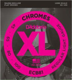 D'Addario ECB81 Chromes 4-String Long Scale Light Bass Guitar Strings - 45-100