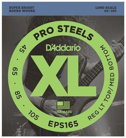 D'Addario EPS165 ProSteels 4-String Long Scale Custom Lights Bass Guitar Strings - 45-105