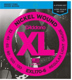 D'Addario EXL170-6 Nickel Wound 6-String Long Scale Light Bass Guitar Strings - 32-130