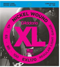 D'Addario EXL170 Nickel Wound 4-String Long Scale Light Bass Guitar Strings - 45-100