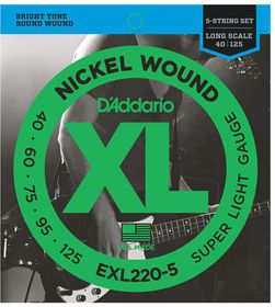 D'Addario EXL220-5 Nickel Wound 5-String Long Scale Super Light Bass Guitar Strings - 40-125