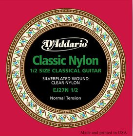 D'Addario EJ27N 1/2 Student Nylon Fractional Normal Tension Classical Guitar Strings