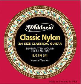 D'Addario EJ27N 3/4 Student Nylon Fractional Normal Tension Classical Guitar Strings