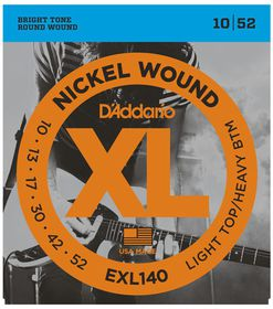 D'Addario EXL140 Nickel Wound Light Top/Heavy Bottom Electric Guitar Strings - 10-52