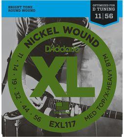 D'Addario EXL117 Nickel Wound Medium Top/Extra-Heavy Bottom Electric Guitar Strings - 11-56