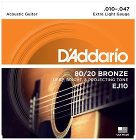 D'Addario EJ10 80/20 Bronze Extra-Light Acoustic Guitar Strings - 10-47