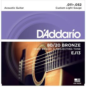 D'Addario EJ13 80/20 Bronze Custom Light Acoustic Guitar Strings - 11-52