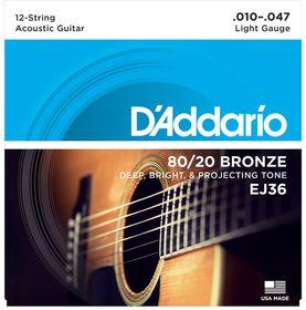 D'Addario EJ36 80/20 Bronzw Light 12-String Acoustic Guitar Strings - 10-47