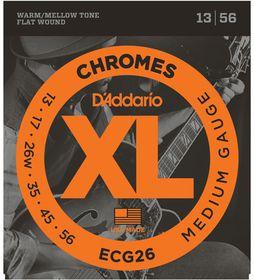 D'Addario ECG26 Chromes Flat Wound Jazz Meduim Electric Guitar Strings - 13-56
