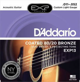 D'Addario EXP13 Coated 80/20 Bronze Cutom Light Acoustic Guitar Strings - 11-52