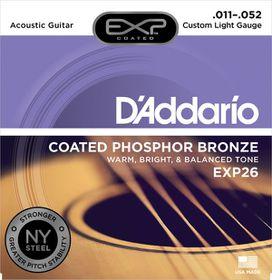 D'Addario EXP26 Coated Phosphor Bronze Custom Light Acoustic Guitar Strings - 11-52