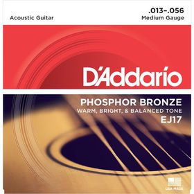 D'Addario EJ17 Phosphor Bronze Medium Acoustic Guitar Strings - 13-56