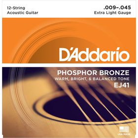 D'Addario EJ41 Phosphor Bronze Extra Light 12-String Acoustic Guitar Strings - 9-45