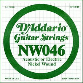D'Addario NW046 Nickel Wound Single Electric Guitar String -  .046