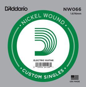 D'Addario NW066 Nickel Wound Single Electric Guitar String - .066